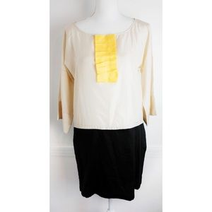 See By Chloe Color Block Black Cream Yellow Dress